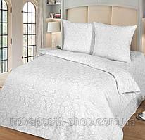 Бриллиант, постельное белье белое из поплина жаккард (100% хлопок)
