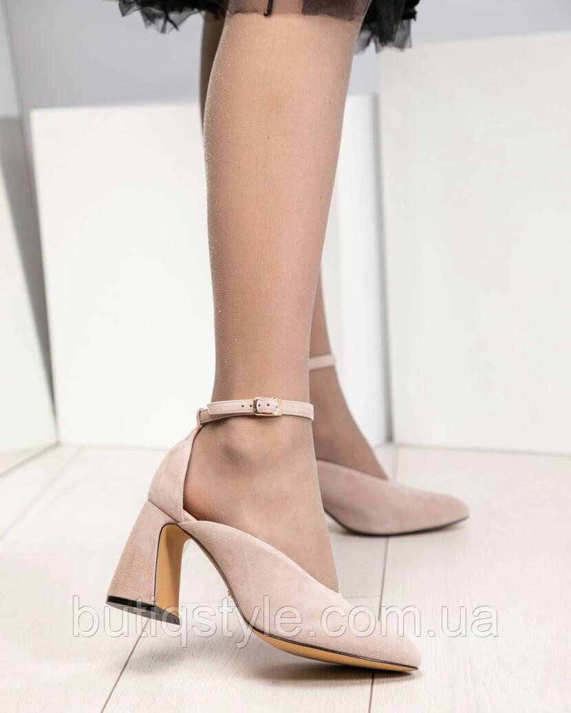 38, 40 размер Открытые туфли серо-бежевые на оригинальном каблуке натуральный велюр