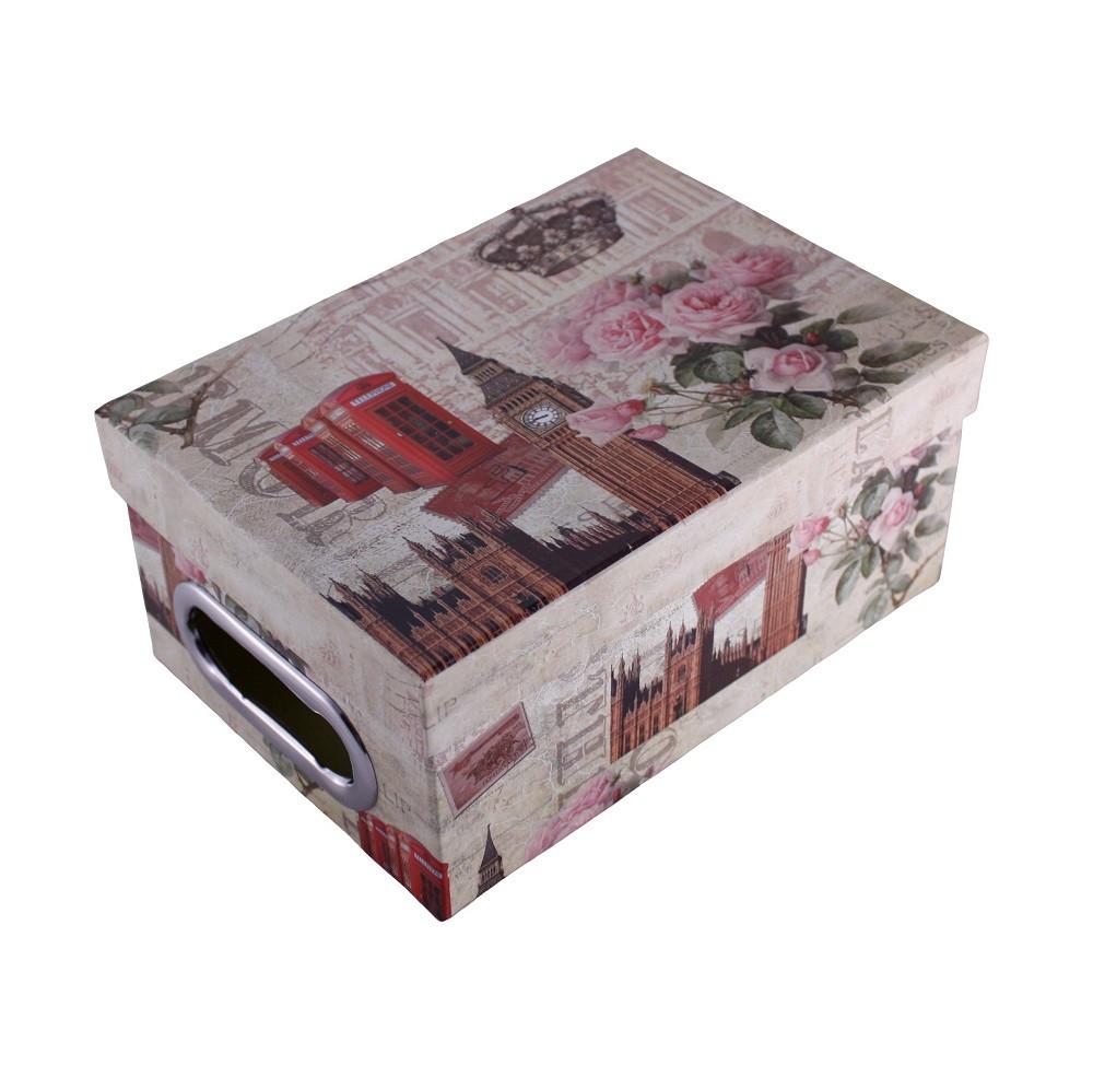 Шкатулка картонная, набор 4 шт., с металлическими ручками, Лондон