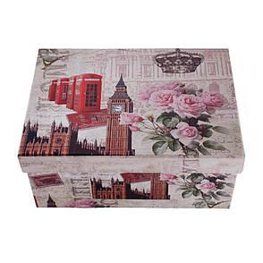 Шкатулка картонная, набор 4 шт., с металлическими ручками, Лондон, фото 2