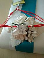 Красная нить на руку с серебряной вставкой 925 пробы