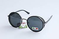 Очки солнцезащитные круглой формы черного цвета, фото 1
