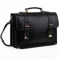 3676a69dd205 Кожаный портфель с фактурой чёрный крокодил Old master арт. SPS-1Kroko
