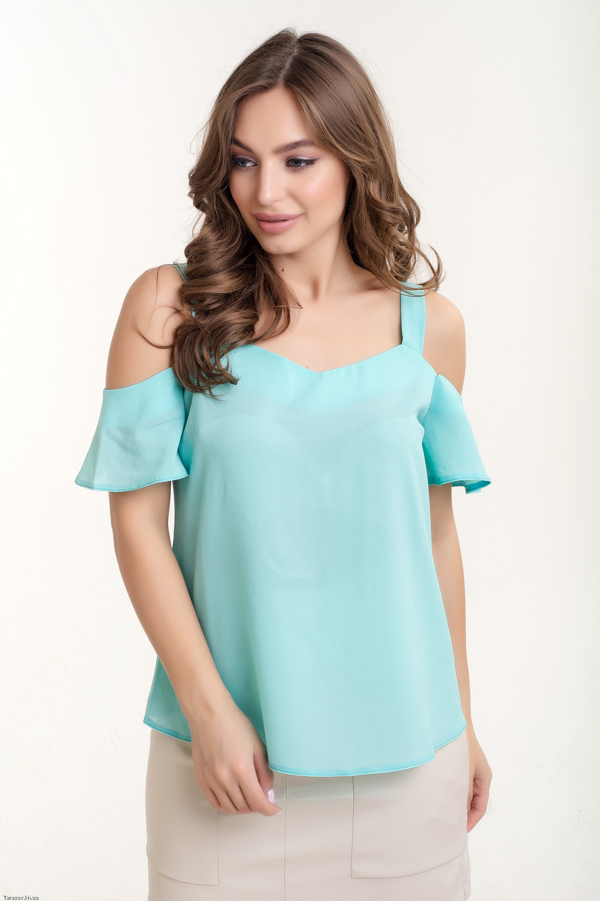 Женская блуза с открыми плечами креп- шифон