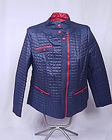 Женская демисезонная куртка больших размеров, синяя с красной отделкой