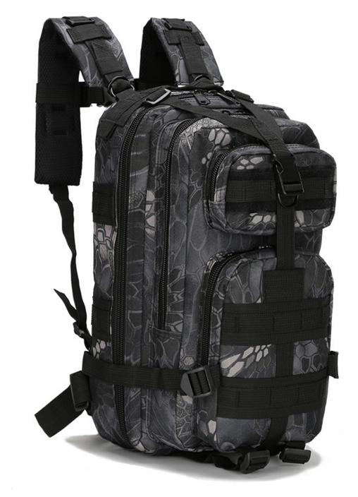 Тактический штурмовой военный городской рюкзак TacticBag на 23-25литров Черный питон