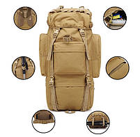 Тактический туристический рюкзак TacticBag на 65-70 литров Хаки, фото 6
