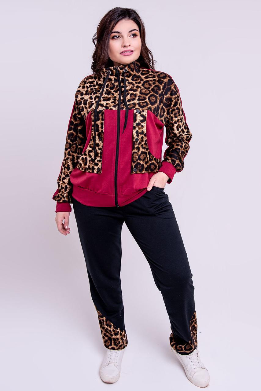 / Размер 52-64 / Женский батальный спортивный комбинированный с леопардом Амалия, цвет бордовый