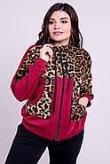 / Размер 52-64 / Женский батальный спортивный комбинированный с леопардом Амалия, цвет бордовый, фото 4