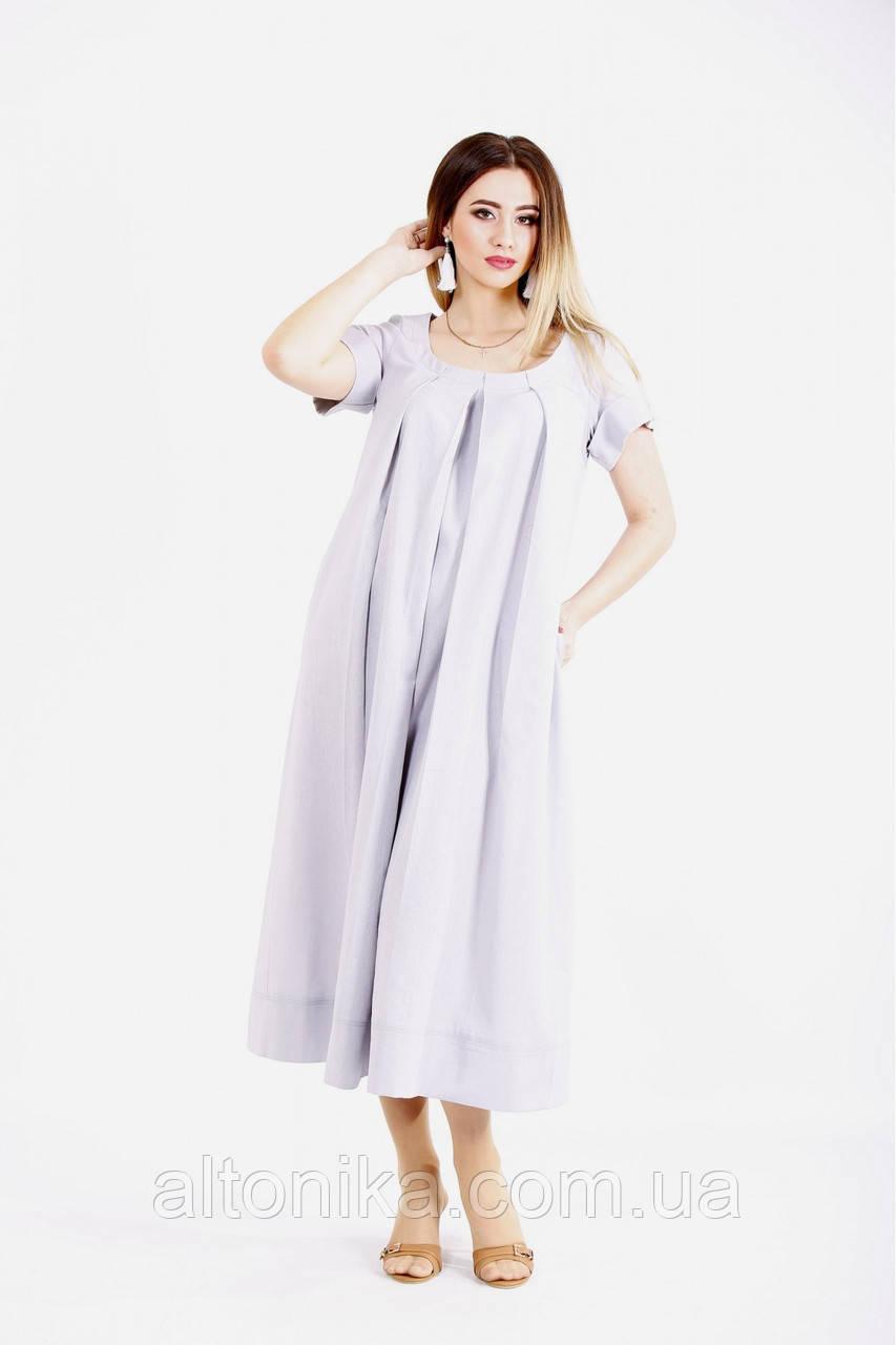 Льняное платье ниже колена / 42-74
