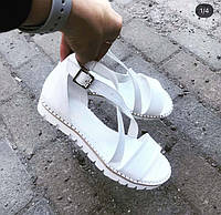 Босоножки женские без каблука кожа белые ZS0029