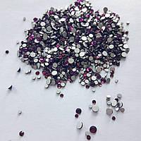 Стеклянные стразы для декора ногтей 1800 шт (dk. amethyst)