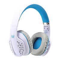 Игровые беспроводные Bluetooth наушники Kotion EACH B3507 со складным корпусом (Бело-голубой)