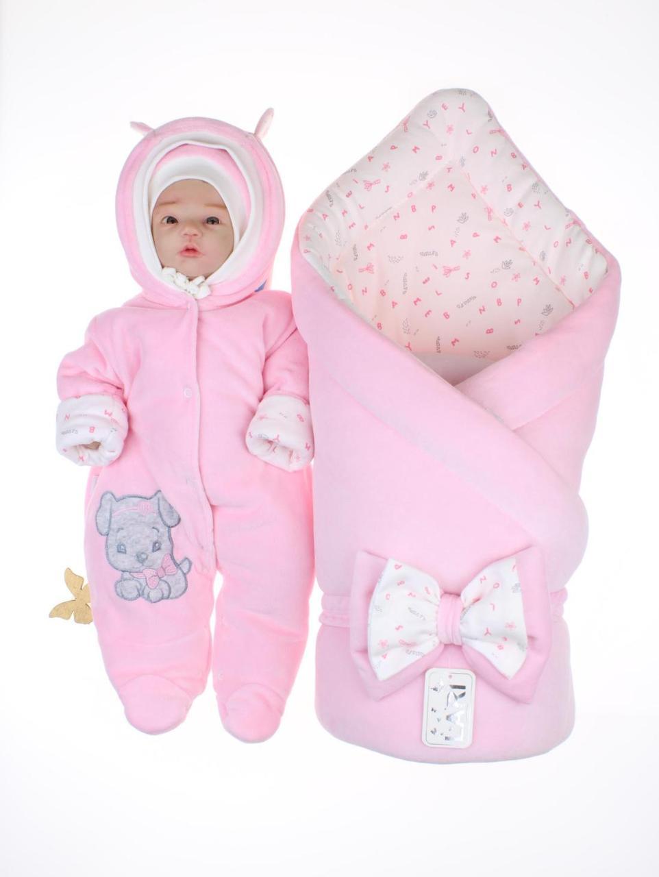 """Демисезонный велюровый комплект для новорожденных """"Маленькие стиляжки"""", розовый"""