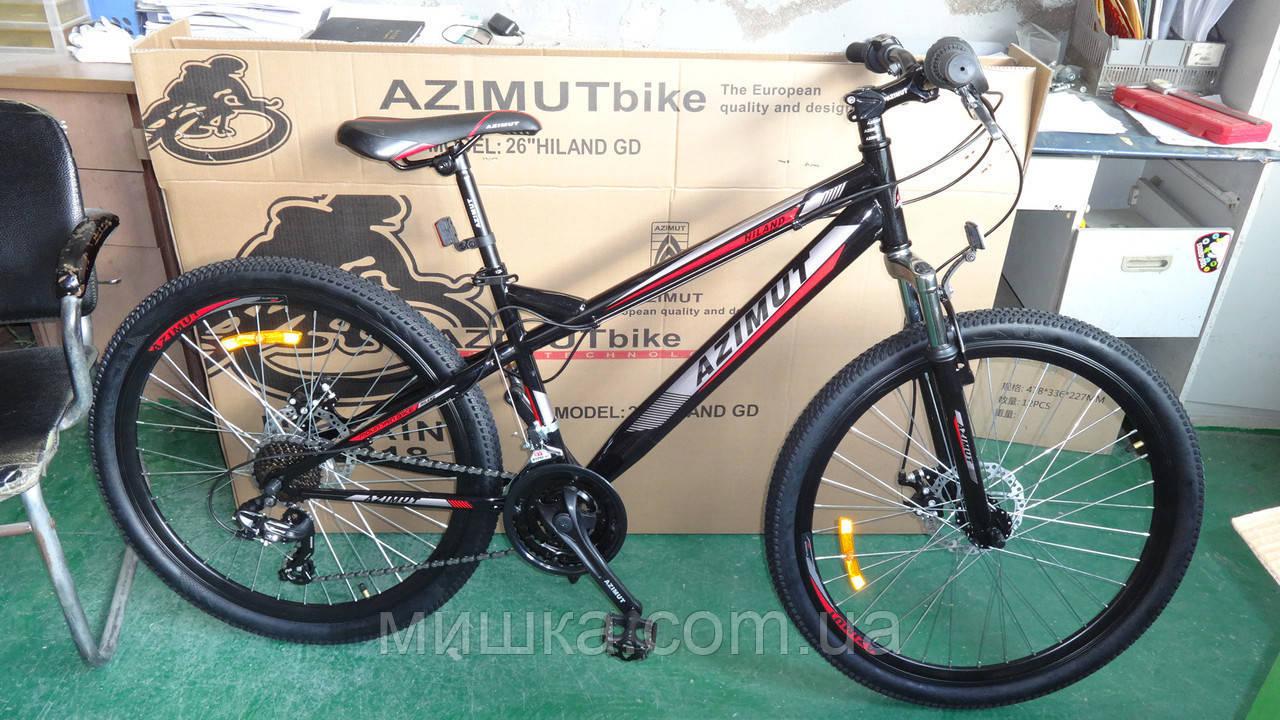 """Велосипед горный Azimut Hiland 26"""" рама 15"""", черно-красный"""