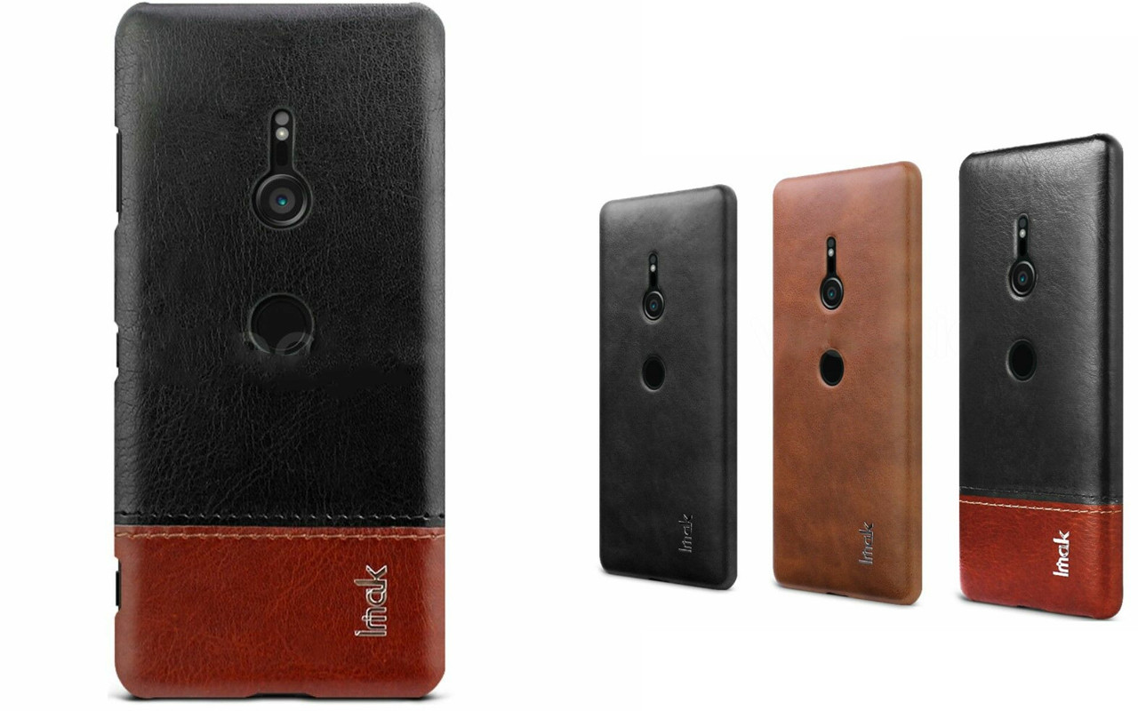Бампер для Sony Xperia XZ3 - Black / Brown - IMAK Cover