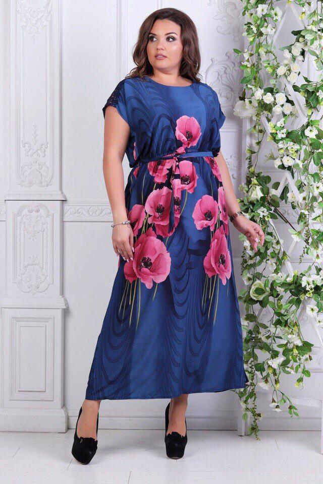 c07cc9772ff Нарядное летнее женское платье с цветочным принтом 52-58р. (2расцв) -  Интернет