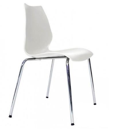 Штабелируемый стул для конференций Лили белый от SDM Group, ноги хром