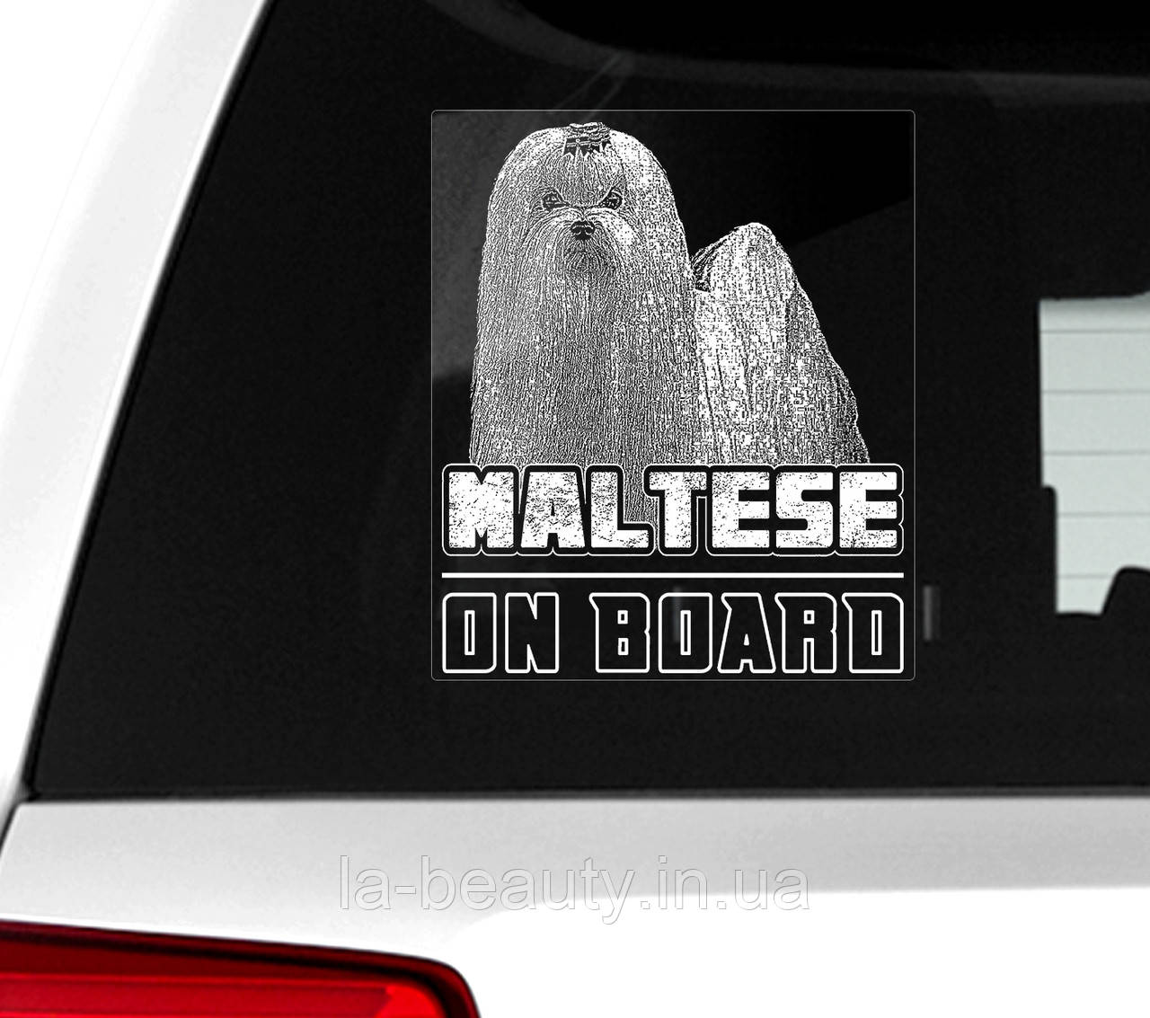 Автомобильная наклейка на стекло Мальтийская болонка (мальтезе) на борту