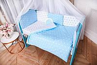 Защита в кроватку и постельный  комплект c подушкой и одеялом Эко ( в расцветках)