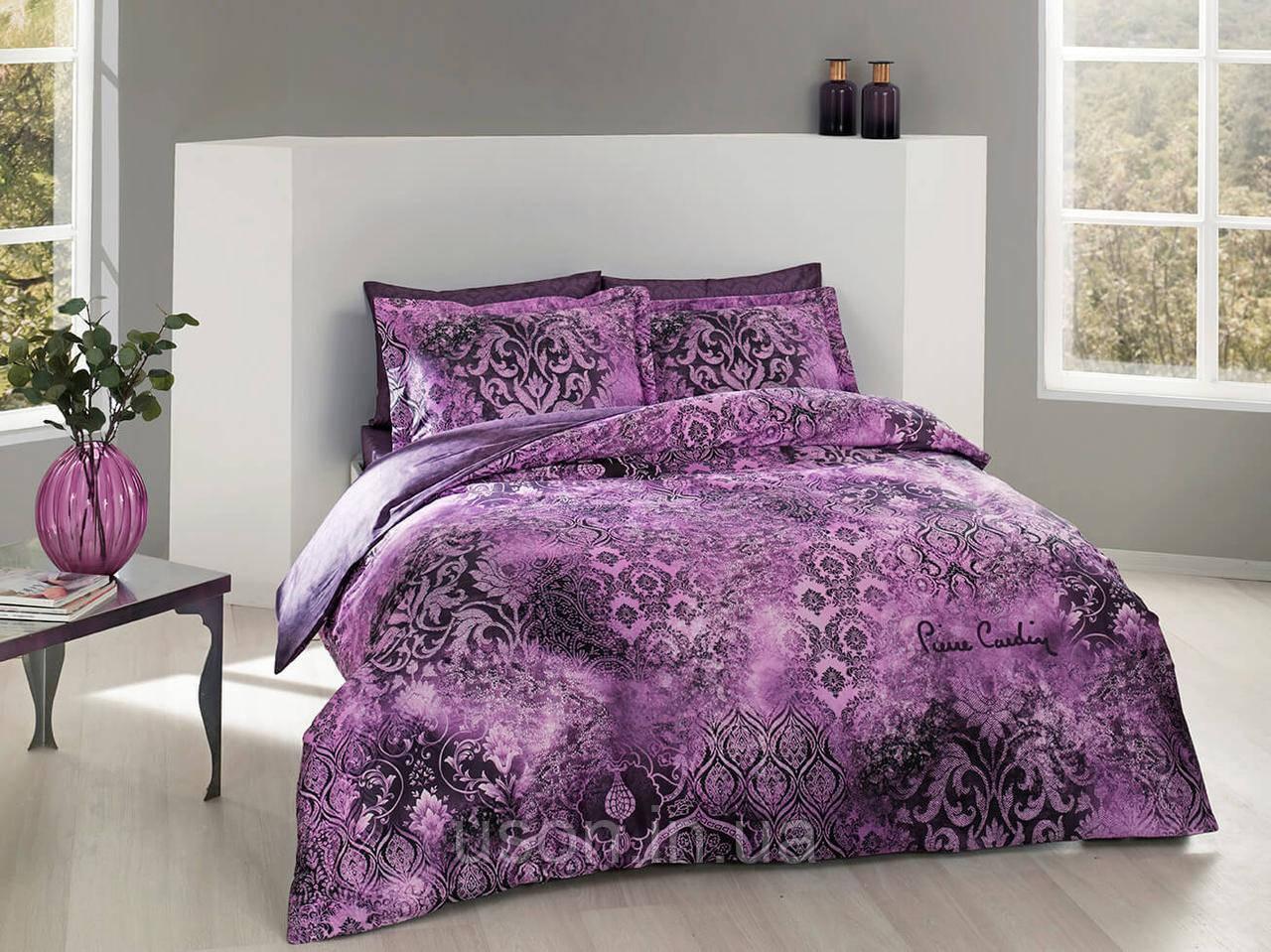 Комплект постельного белья сатин digital евро размер Pierre Cardin REGINA LILAC
