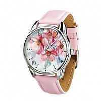 """Часы наручные """"Цветение"""" (ремешок пудрово - розовый, серебро) + дополнительный ремешок (4612162)"""