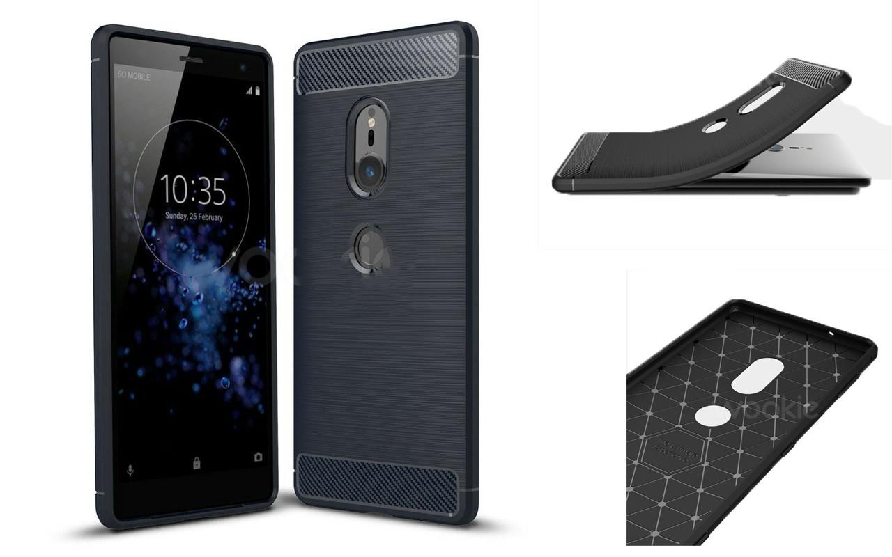 Бампер для Sony Xperia XZ2 - Black - Carbon Cover