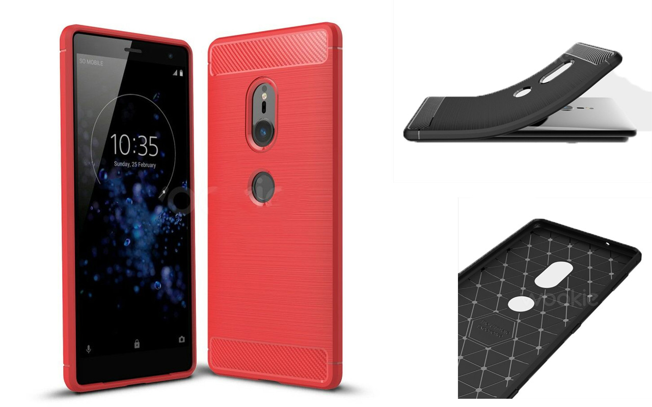 Бампер для Sony Xperia XZ2 - Red - Carbon Cover