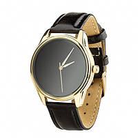 """Часы наручные """"Минимализм черный"""" (ремешок насыщенно - черный, золото) + дополнительный ремешок (4600469)"""