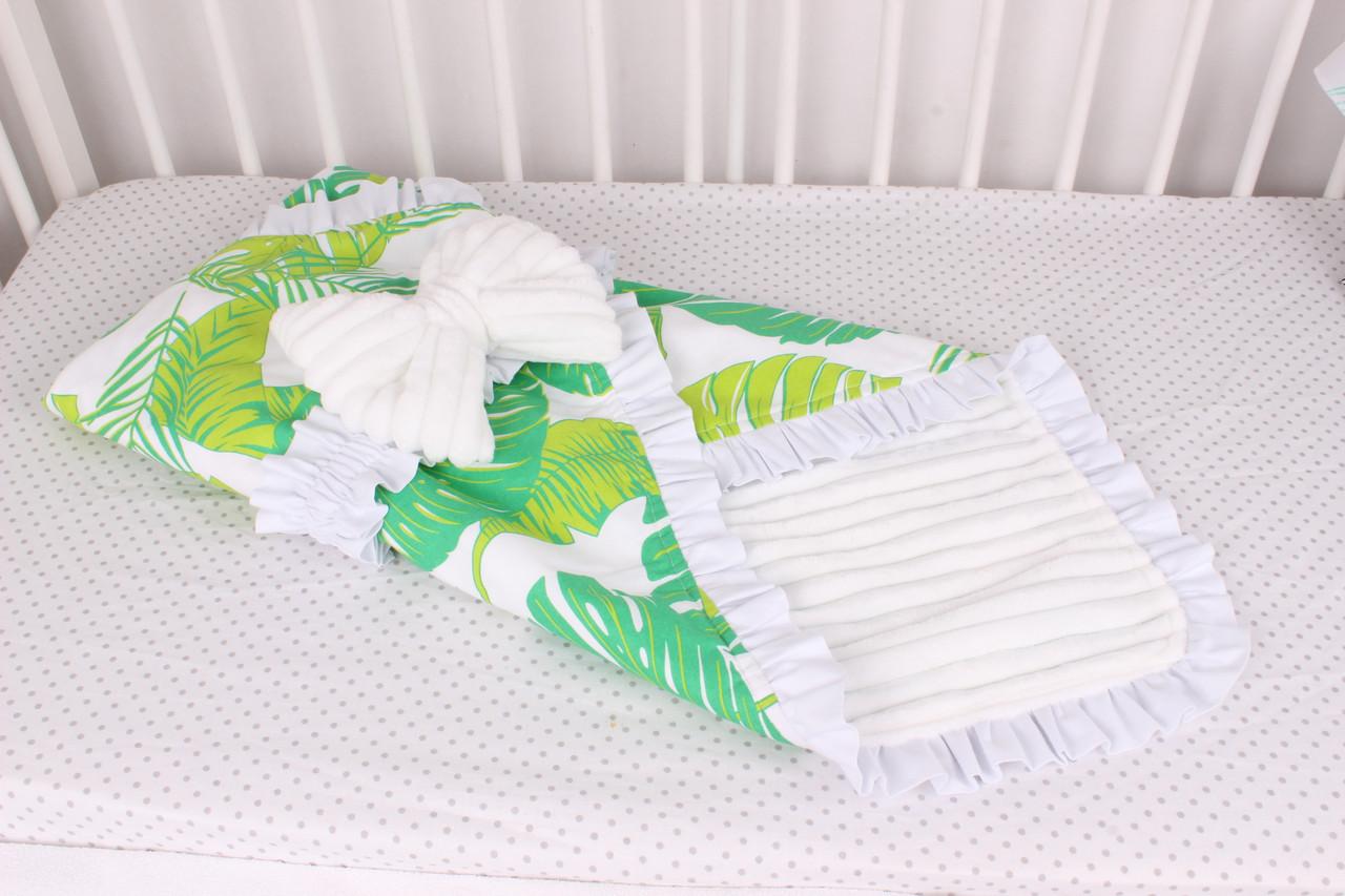 Конверт-одеяло на выписку Зелёные листья на белом