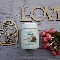 Нерафінована кокосове масло в банку для волосся/тіла/засмаги Organic,250 мл (ЗАГАЛЬНИЙ ОПТ З ФЛАКОНОМ)