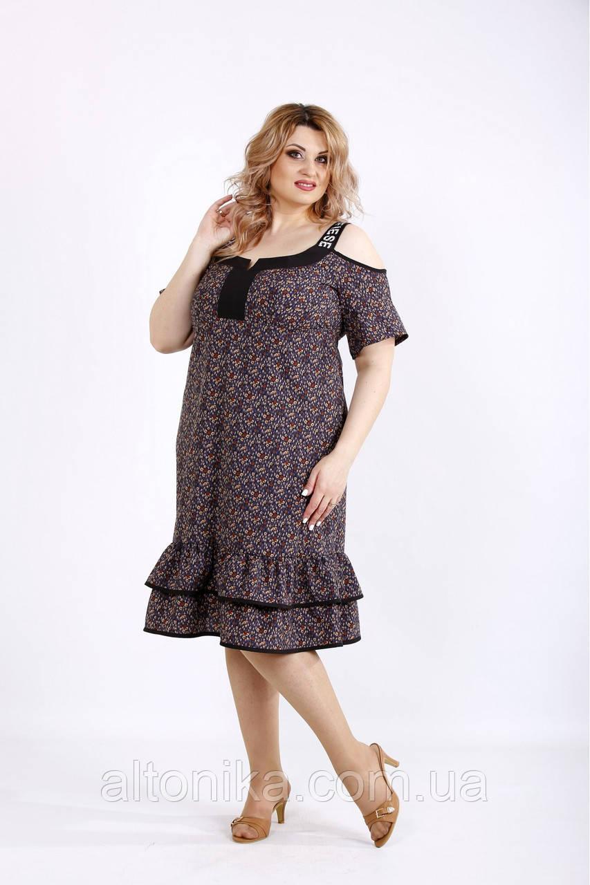 Миди платье с  принтом  / 42-74