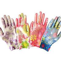 Перчатки рабочие нейлоновые с силиконовым покрытием, размер 8 женские