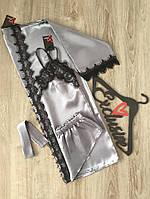 Домашний атласный  комплект халат , майка и шорты (стальной), фото 1