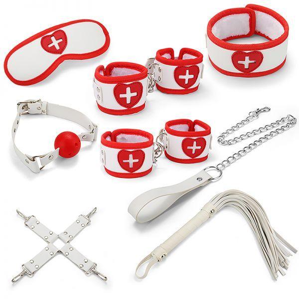 Набор медстестры для БДСМ игр BDSM-NEW PVC Nurse Bondage Set