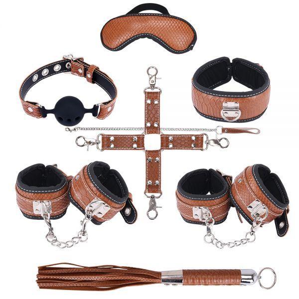 БДСМ набор BDSM-NEW PVC Snakeskin Bondage Set, brown