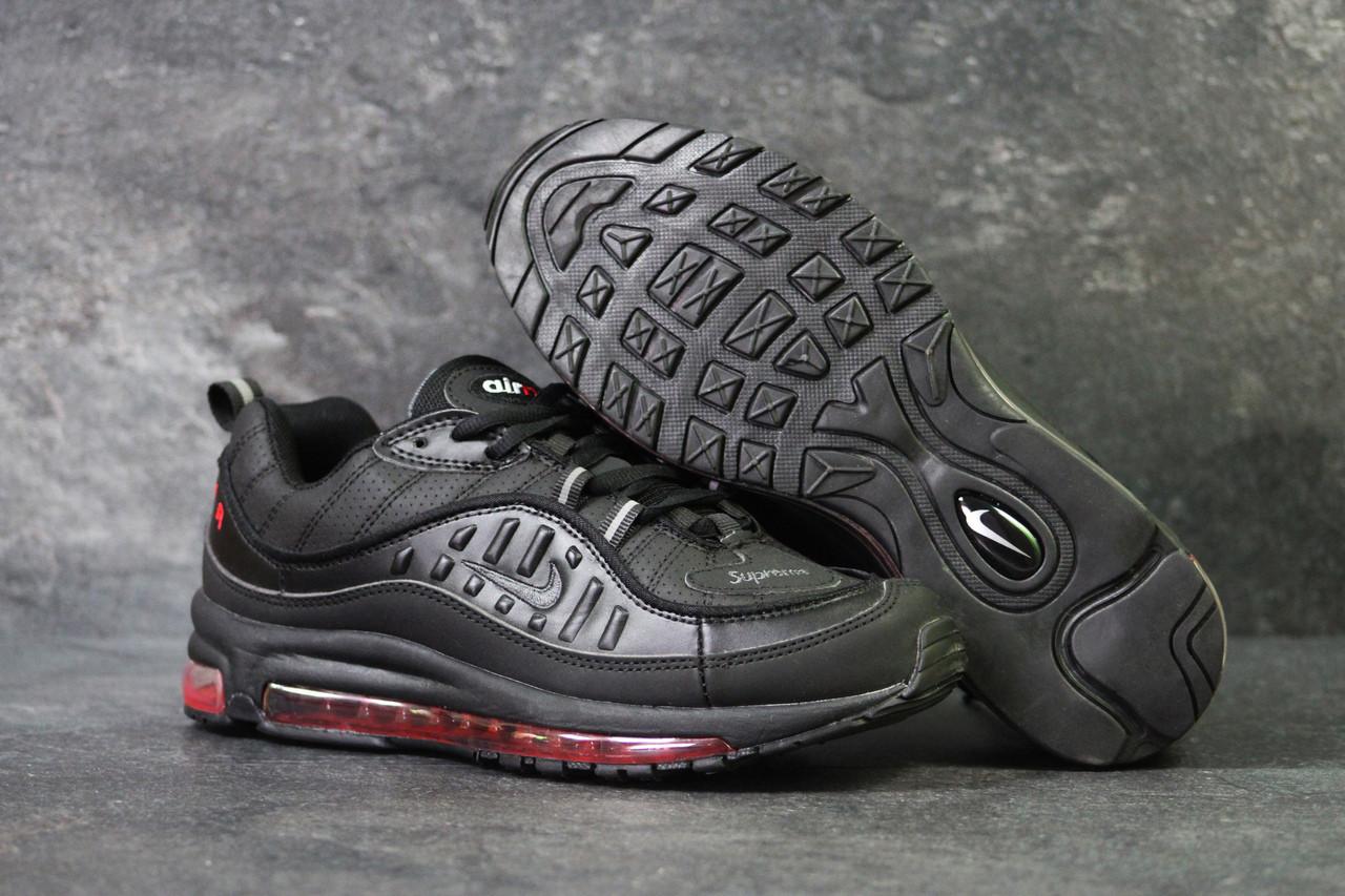 cheap for discount dcf4a a9d3d Мужские кроссовки в стиле Nike Air Max 98 x Supreme Black, черные 41 (26,5  см)