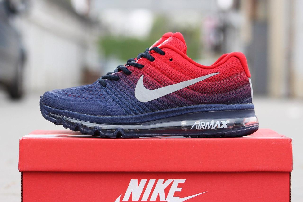 0305a1d6 Мужские кроссовки Nike Air Max 2017,плотная сетка,синие с красным 42р -  Интернет