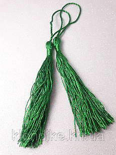 Кисточки декоративные из ниток, Шёлковые 9 см, цвет - Зелёный