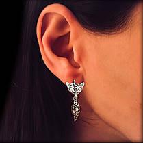 Серебряные серьги Лиса, фото 2