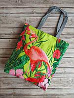 """Яркая салатовая пляжная сумка """"Африка"""" фламинго"""
