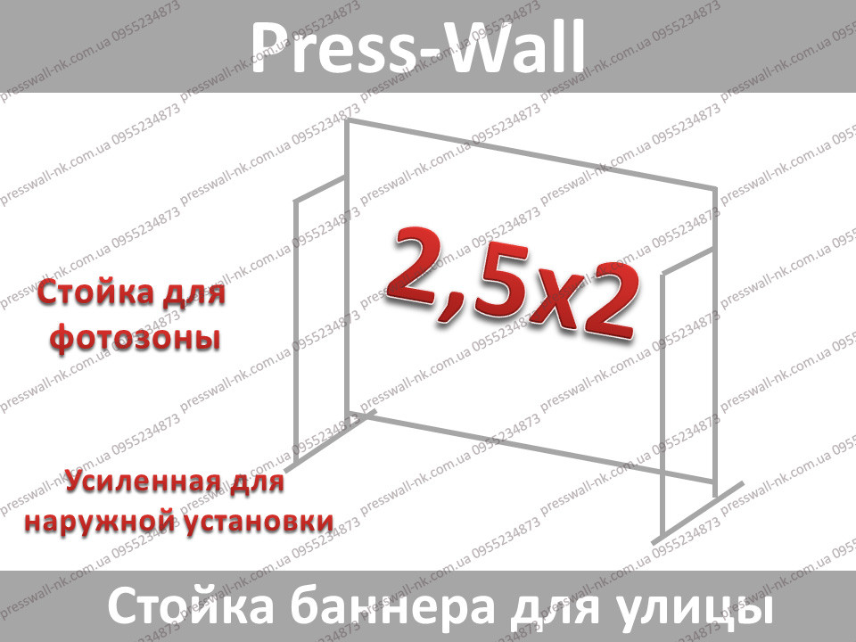 Конструкция стойка для баннера усиленная пресс волл 2,5*2м.