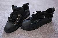 Женские кроссовки Black экокожа широкие шнурки кольца  весна 2019  36  -41  Италия