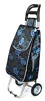 Господарська сумка - візок із залізними колесами Shoping turquoise rose, фото 1