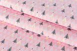 """Сатин ткань """"Треугольники деревья"""" серые на розовом № 2150с, фото 2"""