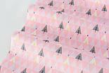 """Сатин ткань """"Треугольники деревья"""" серые на розовом № 2150с, фото 3"""