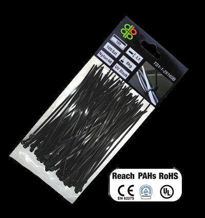 Стяжки кабельні пластикові багаторазові BLACK 7,6*300 мм