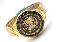 Мужские часы Winner Avio механика с автозаводом, цвет корпуса золотистый