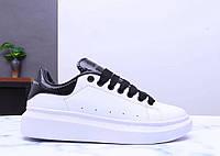 Женские кроссовки Александр Маквин белые с черным (реплика), фото 1
