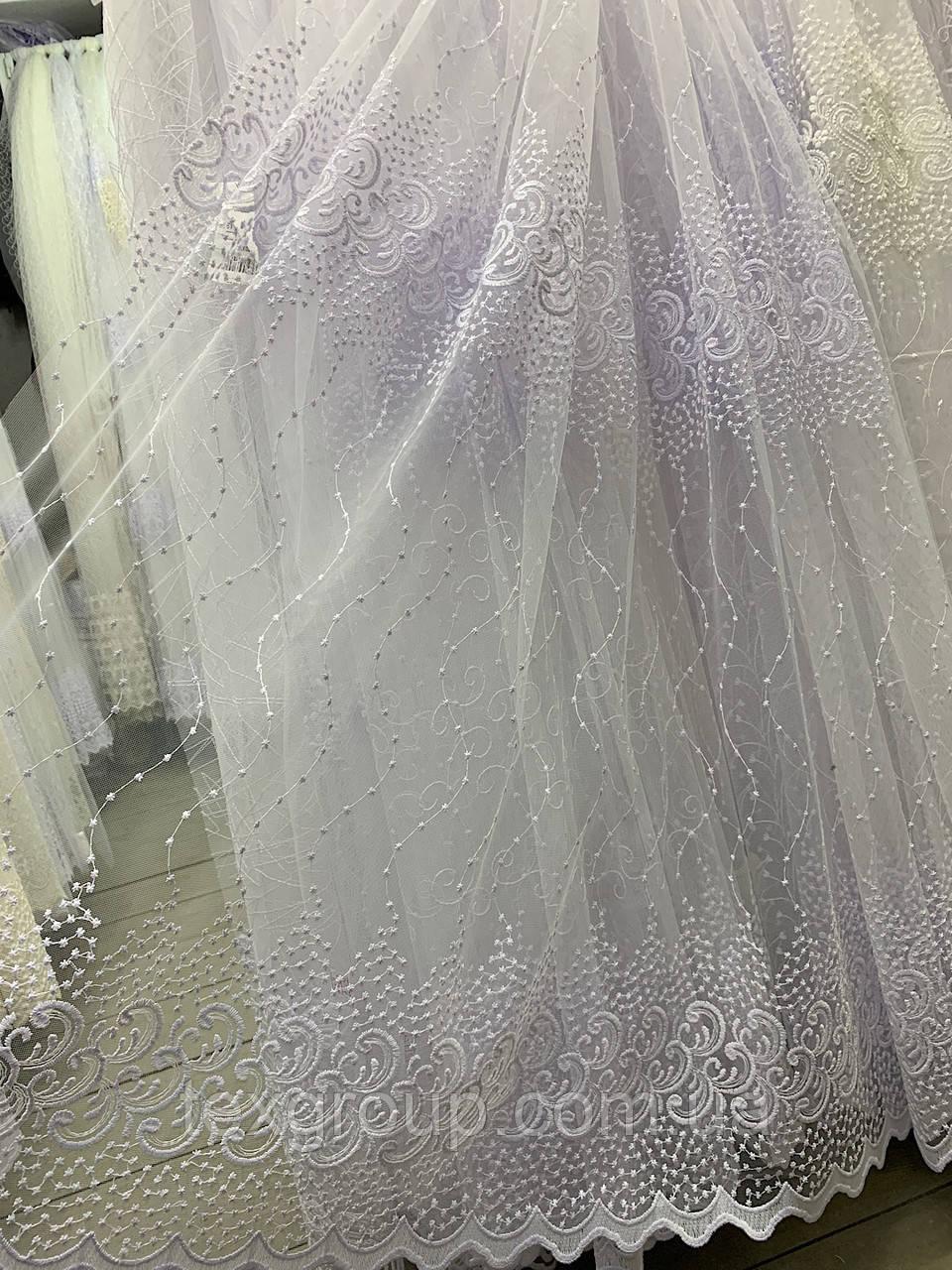 Турецкий фатин с вышивкой 1.60м 5039 белого цвета